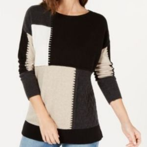 Style & Co Color Block Knit Neutral Sweater Small